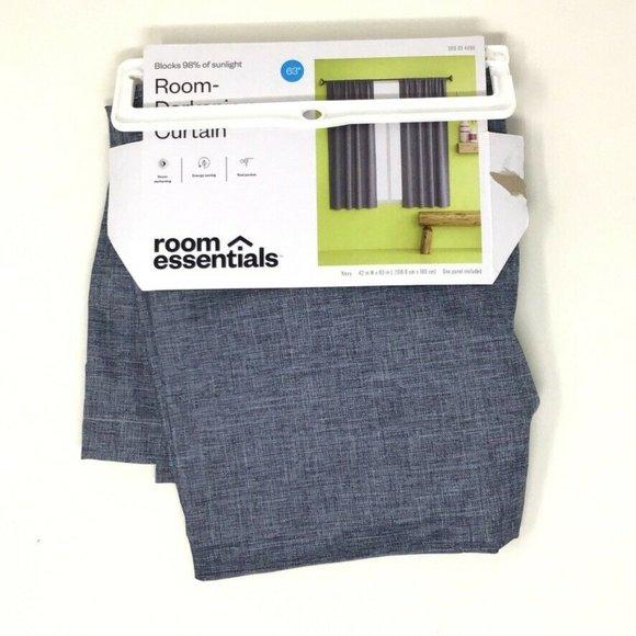 Room Essentials Blue Thermal Room Darkening Curtai